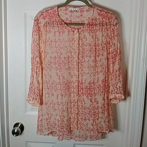 Cabi 100% silk buttoned down top